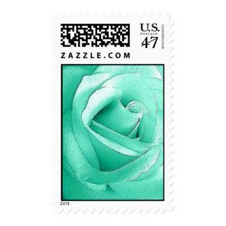 Mint Green  Rose MEDIUM Vertical Postage Stamp