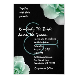 Mint Green Roses and Black Wedding Template Card