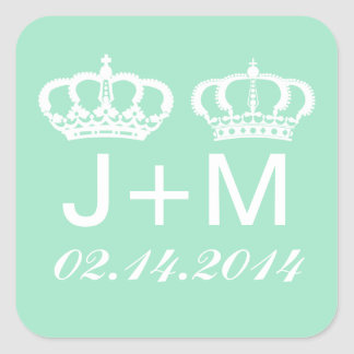 Mint Green Royal Couple Wedding Favor Stickers