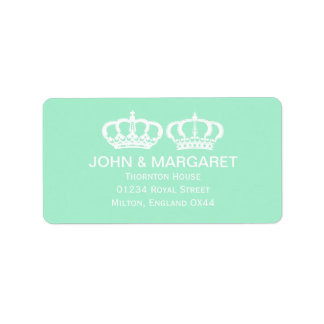 Mint Green Royal Couple Wedding Address Label