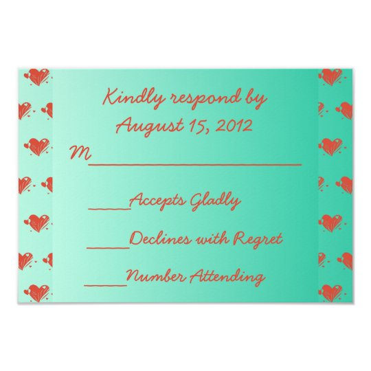 Mint Green RSVP with Hearts Card
