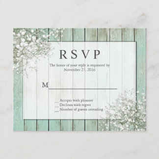 Mint Green Rustic Baby's Breath RSVP