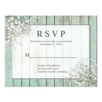 Mint Green Rustic Baby's Breath RSVP Card