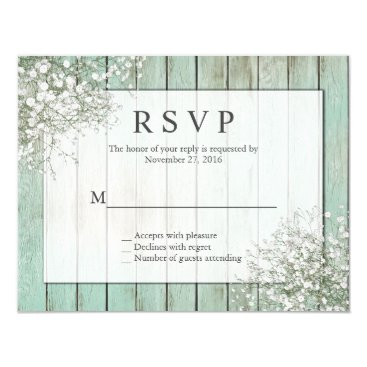 Toddler & Baby themed Mint Green Rustic Baby's Breath RSVP Card
