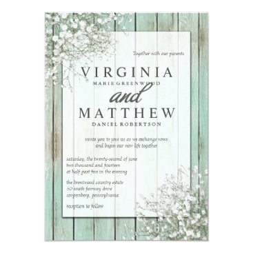 Toddler & Baby themed Mint Green Rustic Baby's Breath Wedding Invitation