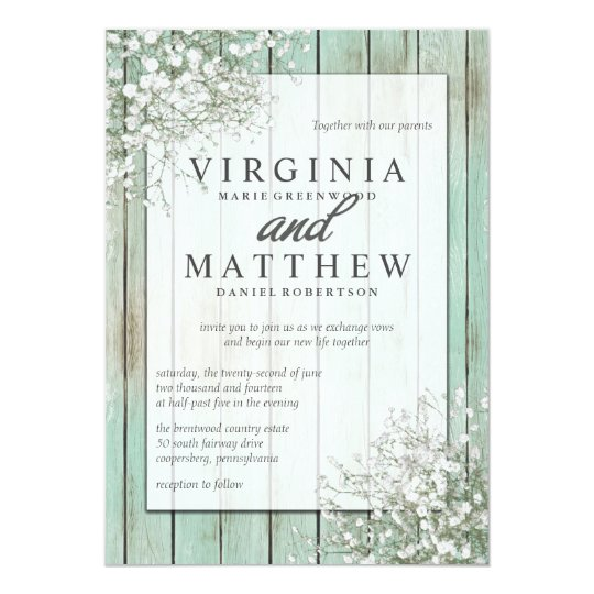 Mint Green Rustic Babys Breath Wedding Invitation Zazzlecom