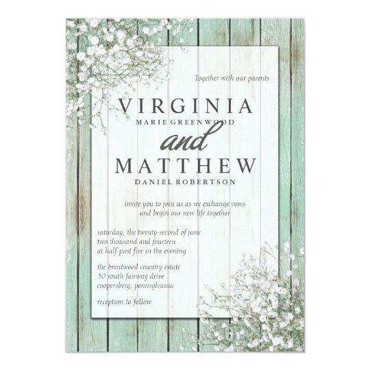 Mint Green Rustic Baby S Breath Wedding Invitation Zazzle Com