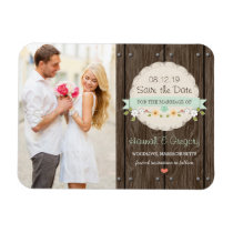 Mint Green Rustic Floral Boho Save the Date Magnet