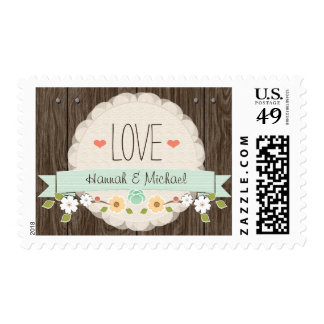 MINT GREEN RUSTIC FLORAL LOVE WEDDING POSTAGE STAMP