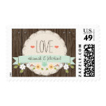 MINT GREEN RUSTIC FLORAL LOVE WEDDING STAMPS