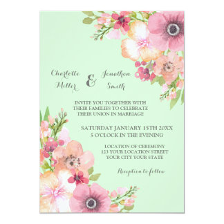 Pink Flowers On Mint Green Invitations Announcements Zazzle