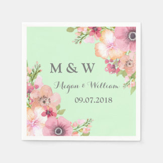 Mint Green Rustic Pink Flowers Wedding Monogram Paper Napkin
