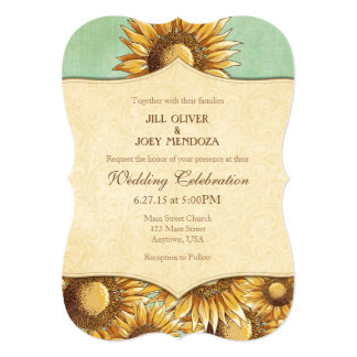 Mint Green Rustic Sunflower Wedding Invitation
