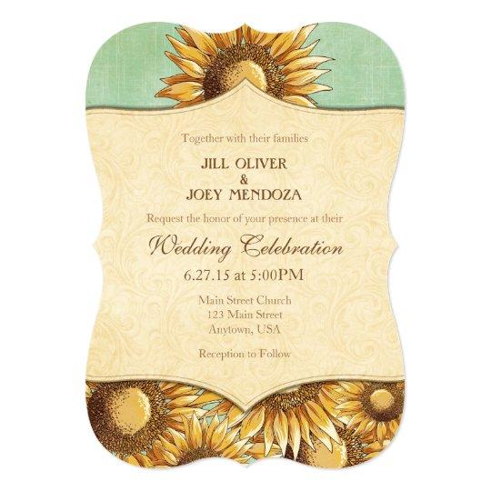 Mint Green Rustic Sunflower Wedding Invitation | Zazzle.com