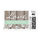Mint Green Rustic Wood Lace Love Wedding Postage Stamps