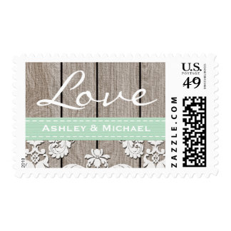 Mint Green Rustic Wood Lace Love Wedding Postage Stamp