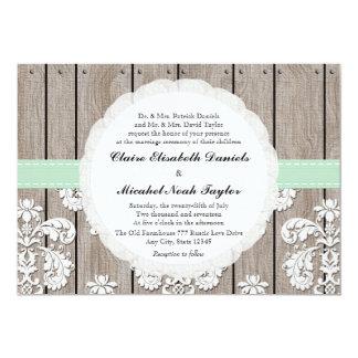 Mint Green Rustic Wood Lace Wedding Invitations