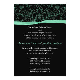 Wedding reminder invitations announcements zazzle mint green scrolls and ribbon wedding invitation stopboris Images