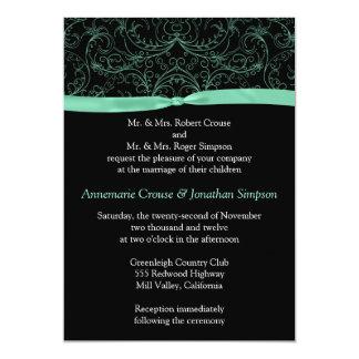 Mint Green Scrolls and Ribbon Wedding Invitation