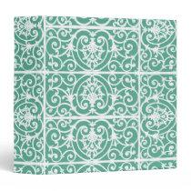 Mint green scrollwork pattern binder