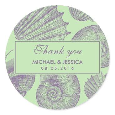 Beach Themed Mint Green Sea shell Wedding Thank You Sticker