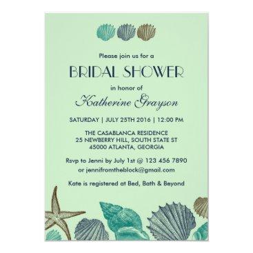 Beach Themed Mint Green Seashells Invitation for Summer Wedding