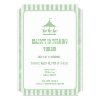 Mint Green Seersucker Carousel Invitation