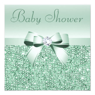 Mint Green Sequins, Bow & Diamond Baby Shower Card