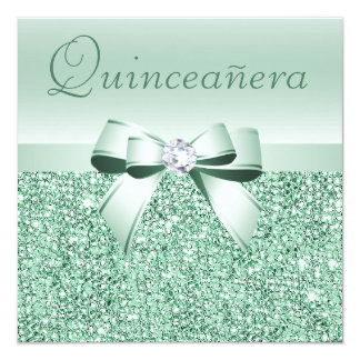Mint Green Sequins, Bow & Diamond Quinceanera Card
