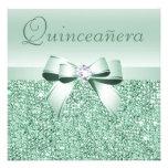 Mint Green Sequins, Bow & Diamond Quinceanera Invitations