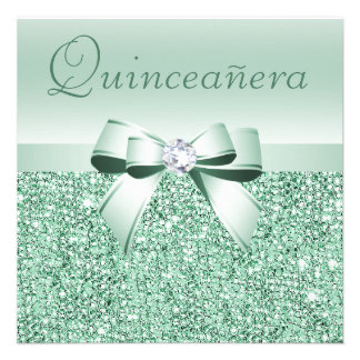 Mint Green Sequins Bow Diamond Quinceanera Invitations