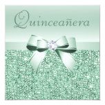 "Mint Green Sequins, Bow & Diamond Quinceanera 5.25"" Square Invitation Card"