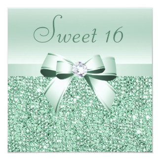 Mint Green Sequins, Bow & Diamond Sweet 16 Card