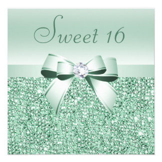Mint Green Sequins Bow Diamond Sweet 16 Invite