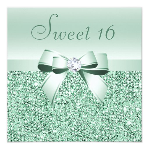 "Mint Green Sequins, Bow & Diamond Sweet 16 5.25"" Square Invitation Card"