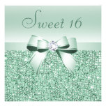 Mint Green Sequins, Bow & Diamond Sweet 16 Invite