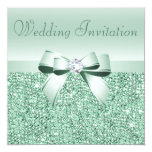 "Mint Green Sequins, Bow & Diamond Wedding 5.25"" Square Invitation Card"