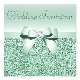 Mint Green Sequins, Bow U0026 Diamond Wedding 5.25x5.25 Square Paper Invitation  Card