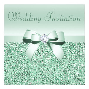 Mint Green Sequins, Bow & Diamond Wedding 5.25x5.25 Square Paper Invitation Card