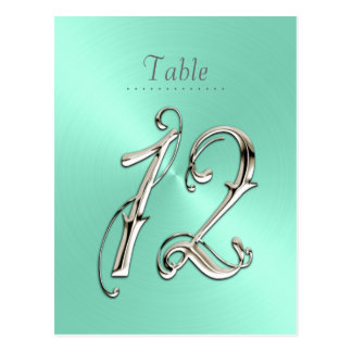 Mint Green Sheen Table Number 12 Postcard