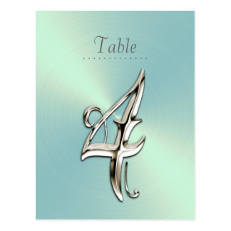 Mint Green Sheen Table Number Postcards