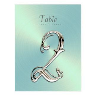Mint Green Sheen Table Number Post Cards