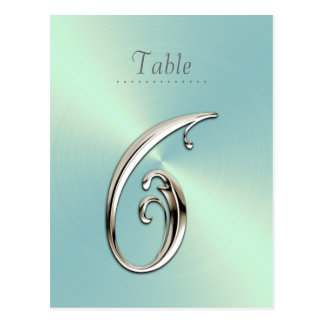 Mint Green Sheen Table Number Postcard