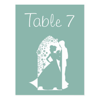 Mint Green Silhouette Wedding Table Numbers Postcard