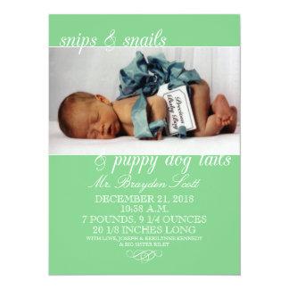 Mint Green Snips & Snails Photo Birth Announcement