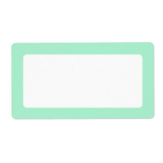 Mint green solid color border blank shipping labels