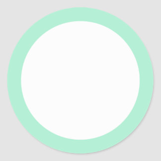 Mint green solid color border blank sticker