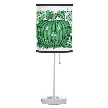 Halloween Themed Mint-Green Spidery Pumpkin Table Lamp