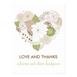 Mint Green Spring Heart Flowers Thank You Postcard