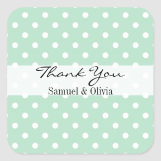 Mint Green Square Custom Polka Dotted Thank You Square Sticker